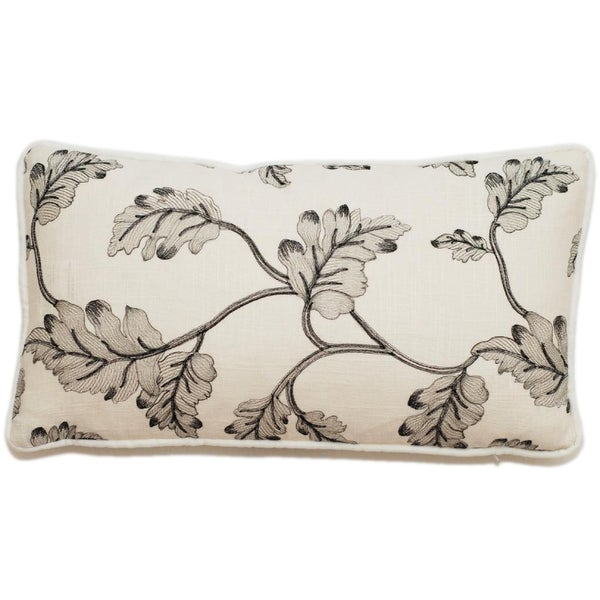 Corona Decor Embroidered Leaves 17 x 11-inch Throw Pillow