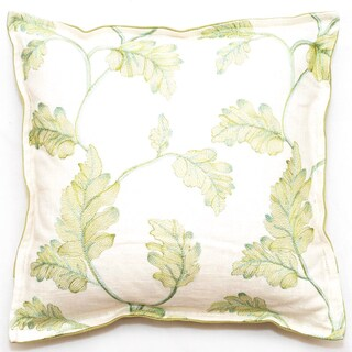 Corona Decor Embroidered Leaves 18-inch Throw Pillow