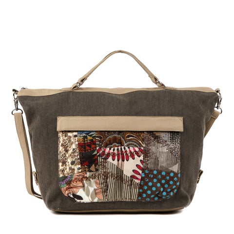 Nikky Khaki Patchwork Shopper Bag