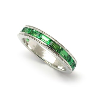 Sonia Bitton 14k White Gold Baguette-cut Tsavorite Stackable Band