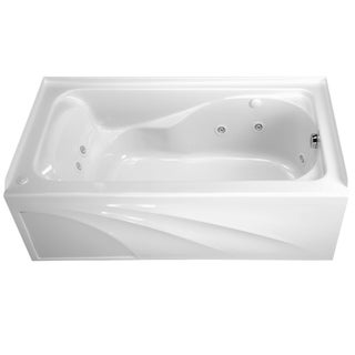American Standard Cadet 5-foot White Integral Apron Left Drain EverClean Whirlpool Tub