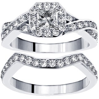 14k/ 18k White Gold 1 1/3ct TDW Diamond Braided Bridal Ring Set