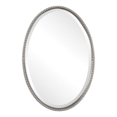 Uttermost Sherise Brushed Nickel Oval Mirror - Brushed Nickel - 22x32x1.75