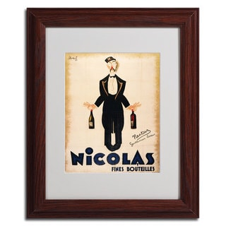 'Nicolas Fines Bouteilles' Framed Matted Wine Butler Art