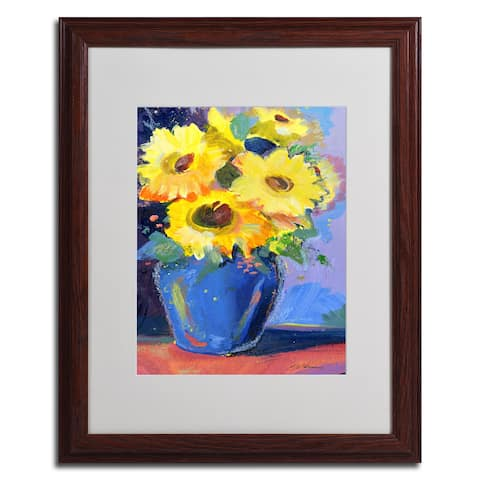 Sheila Golden 'Sunflowers II' Framed Matted Casual Art - Multi