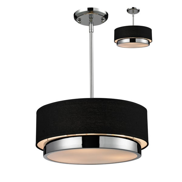 Jade Chrome 3-light Black Drum Shade Pendant - Free Shipping Today ...