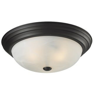 Athena Bronze White Swirl Glass 3-light Flush Mount