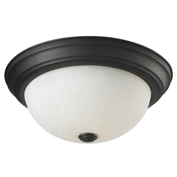 Athena Matte Black 2-light Flush-Mount Ceiling Fixture
