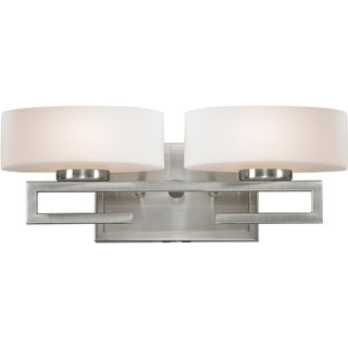 Cetynia Brushed Nickel 2-Light Squared Vanity Fixture