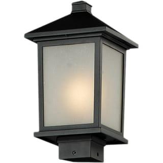 'Holbrook' Black Seedy Glass Outdoor Post Light Fixture