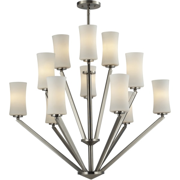 Elite Nickel Twelve-Light Angled Chandelier