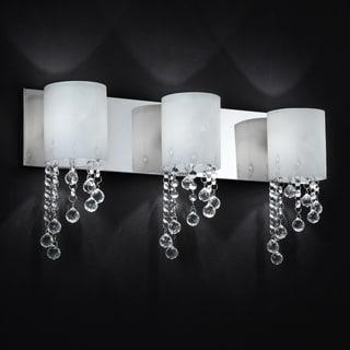 Chrome crystal 3 light wall sconce bathroom vanity fixture 14123171 shopping for Crystal bathroom vanity sconces