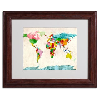 Michael Tompsett 'Watercolor Countries' Horizontal Framed Matted Art