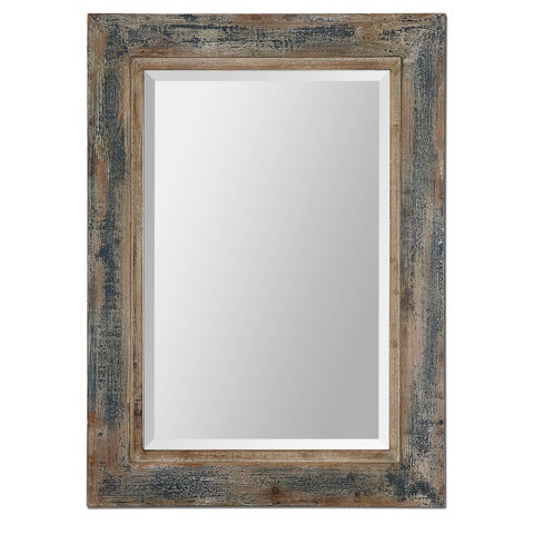 Uttermost Bozeman Distressed Blue Wood Mirror