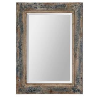 uttermost bozeman distressed blue mirror - Wood Frame Mirror