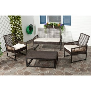 Safavieh Outdoor Living PE Mesh Back Wicker Beige Cushion 4-piece Patio Set