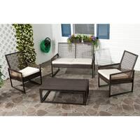 Safavieh Outdoor Living PE Mesh Back Wicker Beige Cushion 4-piece Patio Set