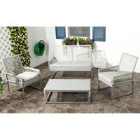 Safavieh Outdoor Living Grey PE Mesh Back Wicker Cushion 4-piece Patio Set