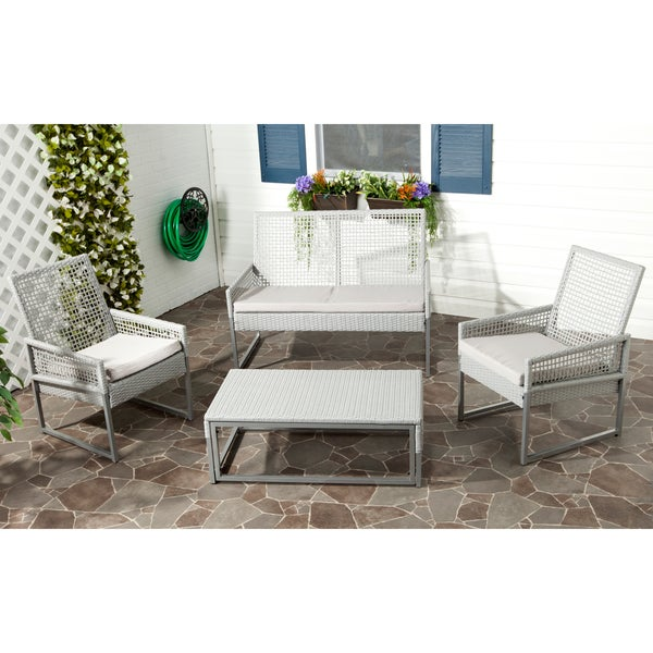 Shop Safavieh Outdoor Living Grey PE Mesh Back Wicker ... on Outdoor Living Wicker id=90762
