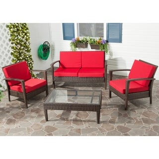 Safavieh Outdoor Living Brown PE Wicker Red Cushion Glass Top 4-piece Patio Set