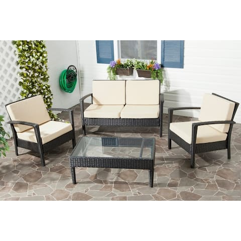 Safavieh Outdoor Living PE Wicker Yellow Cushion Glass Top 4-piece Patio Set