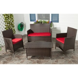 Safavieh Outdoor Living Brown PE Wicker Red Cushion 4-piece Patio Set