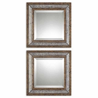 Uttermost 'Norlina Squares' Antique Mirror (Set of 2) - Grey/Gold - 18x18x2.125