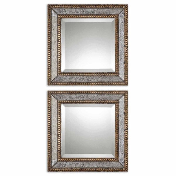 Shop Uttermost Norlina Squares Antique Mirror Set Of 2 Grey