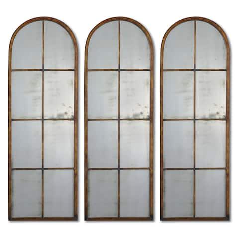 Uttermost 'Amiel' Arched Brown Mirror (One Mirror) - Brown/Gold - 16.5x50x1.375