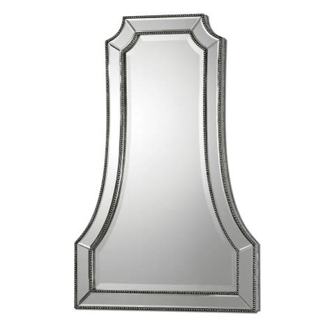 Uttermost 'Cattaneo' Silver Beaded Mirror - 26.25x40.25x2.125