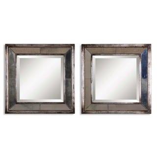 Uttermost Davion Squares Silver Mirror (Set of 2) - Silver/Black - 18x18x3.125