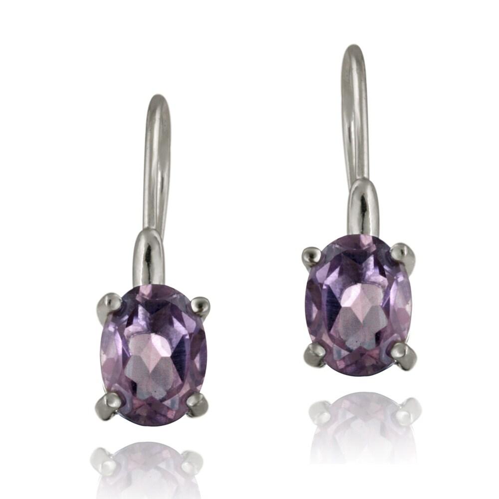 Glitzy Rocks Sterling Silver Amethyst Dangle Earrings (2 1/10ct TGW)