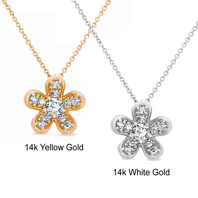 14k Gold 1/2ct TDW Diamond Flower Necklace (G-H, I1)