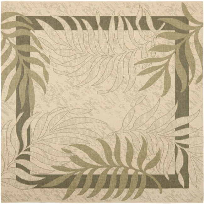 "Safavieh Poolside Cream/ Green Indoor Outdoor Rug - 6'7"" x 6'7"" square"
