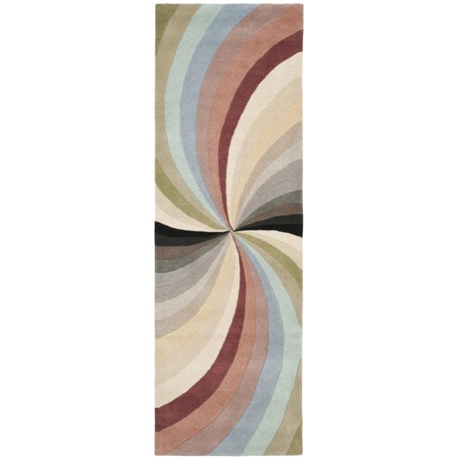 "Safavieh Handmade Soho Vortex Modern Abstract Wool Runner Rug - 2'6"" x 8'"