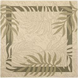"Safavieh Poolside Cream/ Green Indoor Outdoor Rug - 6'7"" x 6'7"" square - Thumbnail 0"