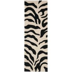 Safavieh Handmade Soho Zebra Beige/ Black New Zealand Wool Rug (2'6 x 8')