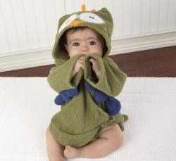 Baby Aspen My Little Night Owl Hooded Terry Spa Robe in Green - Thumbnail 1