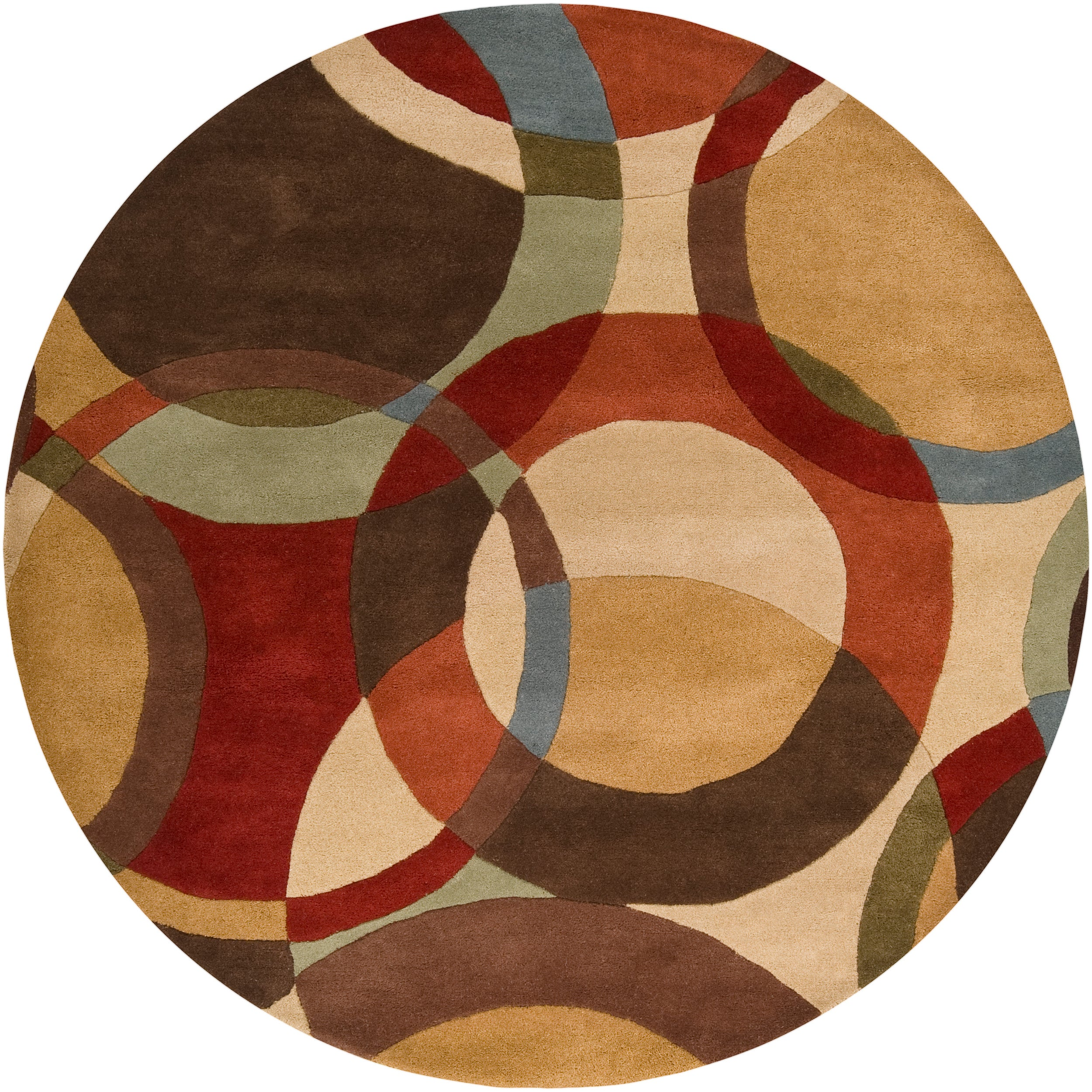 Hand Tufted Agra Red Gold Wool Rug 8 Round: Hand-tufted Contemporary Multi Colored Circles Lev Wool