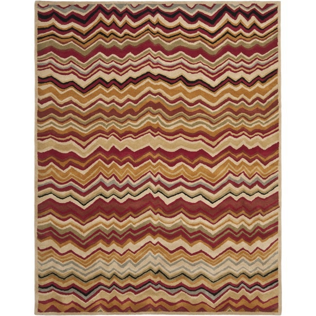 Safavieh Handmade Chatham Zig-Zag Red New Zealand Wool Rug - 8' x 10'