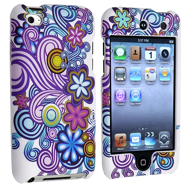 Flower Vine Rubber Coated Case for Apple iPod Touch Generation 4 - Thumbnail 0