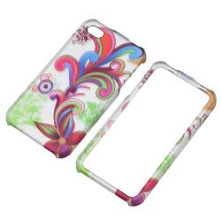 White/ Colorful Flower Rubber Coated Case for Apple iPhone 4/ 4S - Thumbnail 1