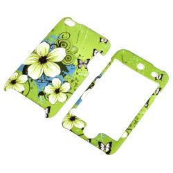 INSTEN Green Flower Snap-on Rubber iPod Case Cover for Apple iPod Touch 4th Generation