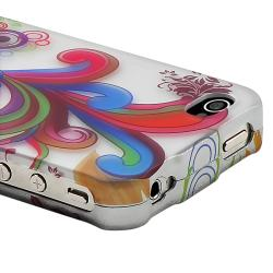 White/ Colorful Flower Rubber Coated Case for Apple iPhone 4/ 4S - Thumbnail 2
