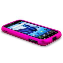Hot Pink Snap-on Rubber Coated Case for Motorola Atrix 2 MB865 - Thumbnail 2