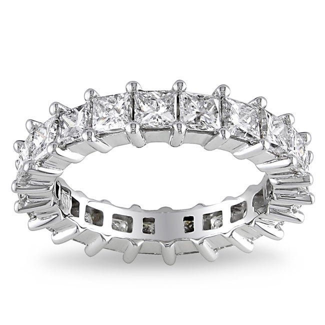 Miadora 18k White Gold 3ct TDW Diamond Eternity Ring (H-I, SI1-SI2)