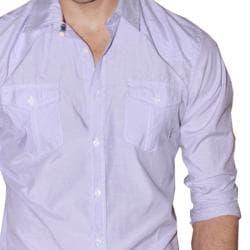 191 Unlimited Men's Lavender Micro-Striped Western Yoke Shirt