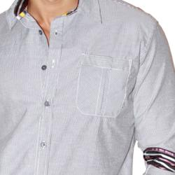 191 Unlimited Men's Grey Striped Woven Shirt - Thumbnail 2