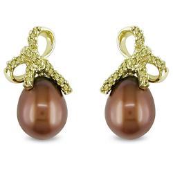 Miadora 10k Yellow Gold FW Pearl and 1/10ct TDW Yellow Diamond Earrings