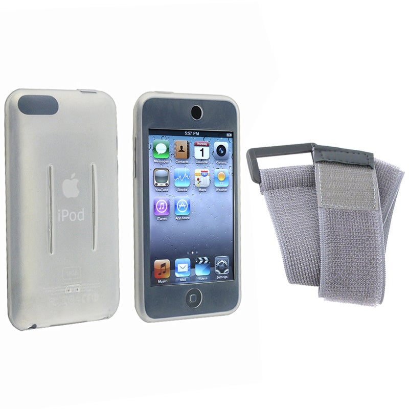 BasAcc White/Gray Skin Case w/ Armband for iPod Touch